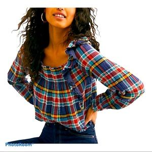 NWT FREE PEOPLE Women's Plaid Top Size M
